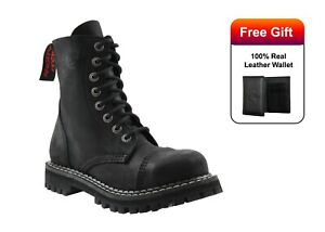 Angry Itch Boots Vintage Black Leather Combat Boots 8 Hole Punk Army Steel Toe