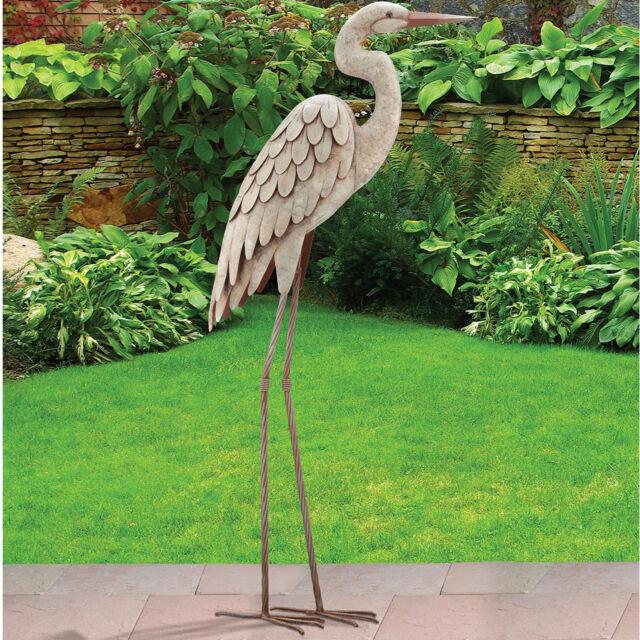 Large Outdoor Bird Sculpture Metal Decor Egret Standing Art Display Pond Garden