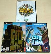 3 PC SPIELE SAMMLUNG - SIM CITY SOCIETIES - CITY LIFE - TYCOON CITY NEW YORK