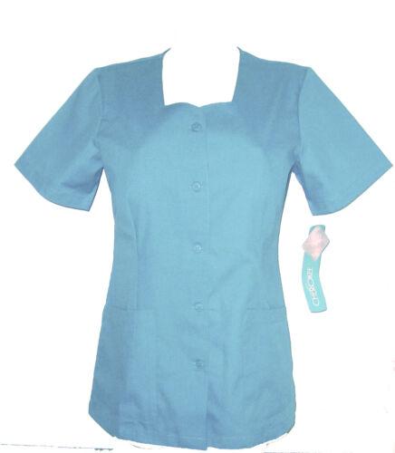 CHEROKEE BLUE Scrubs Style 1850 Hospital Dentist Tunic Button Front  UK 12 /& 14