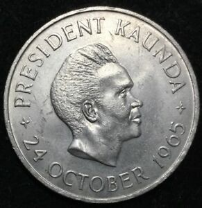 ORIG 1965 ZAMBIA 5 SHILLINGS PROOF ROYAL MINT PKG INDEPENDENCE DAY