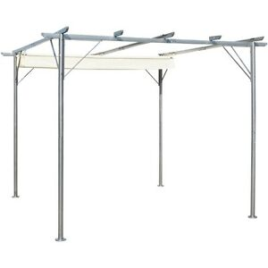 pergola with retractable roof sun shade rain protection steel 3x3 m garden patio ebay. Black Bedroom Furniture Sets. Home Design Ideas
