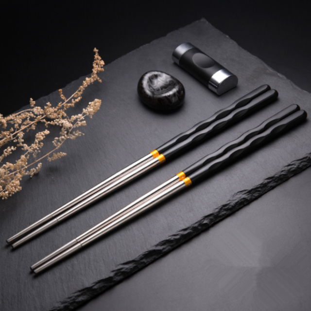 4 Pairs of Stainless Steel Colored Chopstick Reusable Chopstick Non-Slip Chopstick