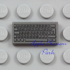 LEGO White Minifigure Computer Keyboard 1x2 Decorated Flat Tile Piece