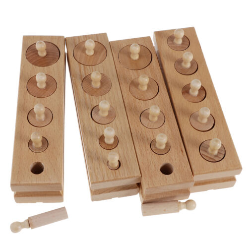 Knobbed Cylinder Blocks Kids Early Educational Toys Montessori Material
