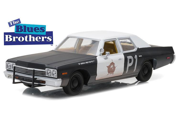 1 24 grönljus - blås Brödhers 1974 Dodge Monaco blås bilene