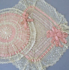 Lot FRENCH LACE HM Crochet LACE Ornaments Doilies PINK Satin Ribbons BOWS