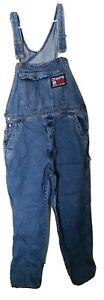 Chaps-Ralph-Lauren-Vintage-90s-Big-Logo-Carpenter-Bib-Overalls-Coveralls-L-Denim