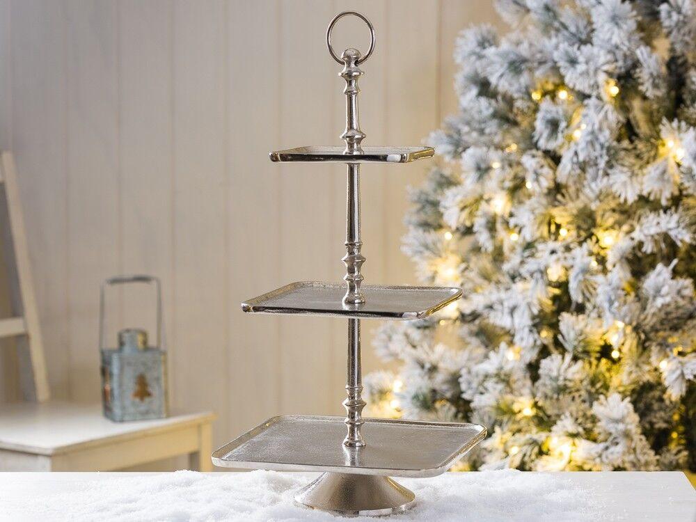 Compagnie Helena 50 cm carré en métal argenté 3 Niveaux Décoration de Table MARIAGE