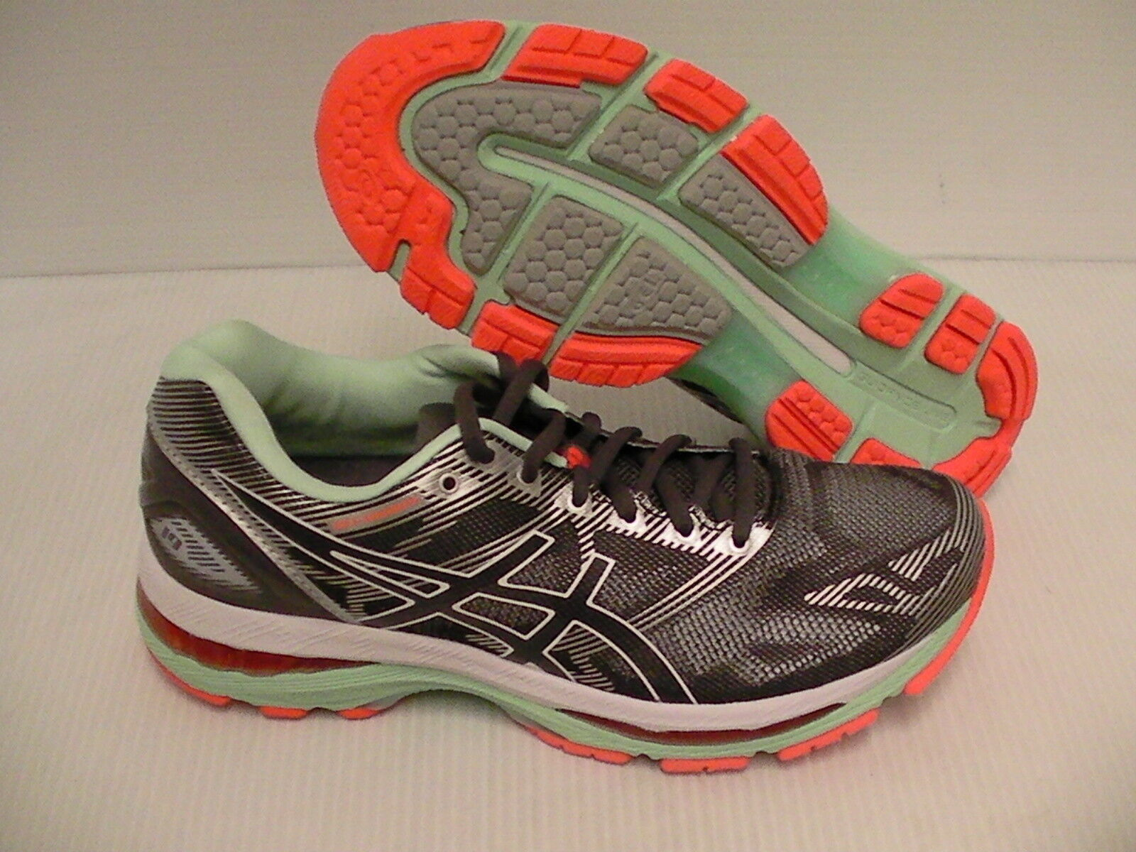 Asics women's gel nimbus 19 running shoes carbon white flash coral size 8 us Wild casual shoes