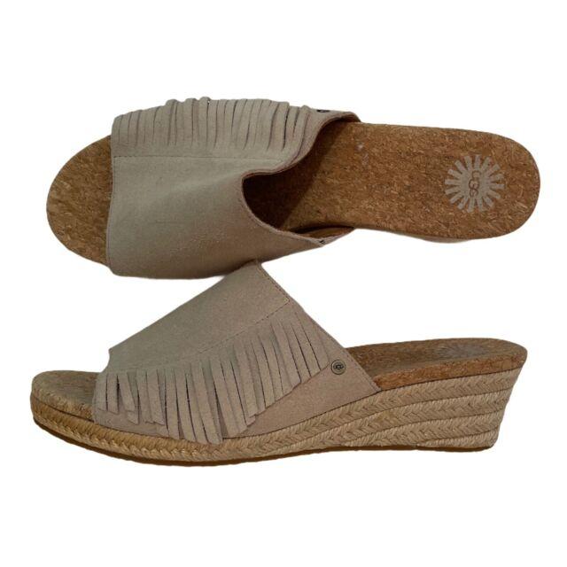 Size 9 UGG Womens Dane Espadrille Wedge Slide Sandals Shoes Suede Fringe Beige