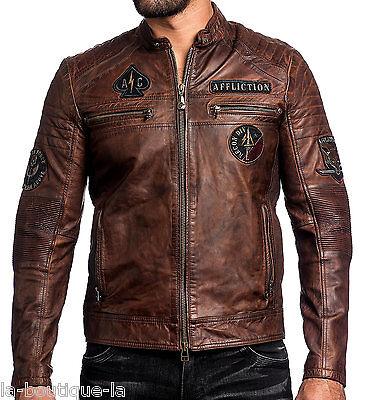 Affliction Black Premium - FATAL HOUR - Men's Leather Biker Jacket - NEW - Brown