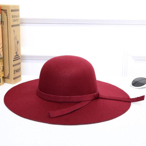 Fashion Classic Retro Ladies Fedora Sweet Christmas Wide Brim Top Sun Hat Girls