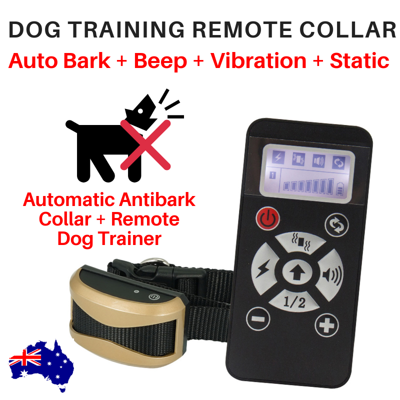 REMOTE DOG TRAINING COLLAR PLUS AUTOMATIC BARK CORRECTION RECHARGEABLE 730M S-XL