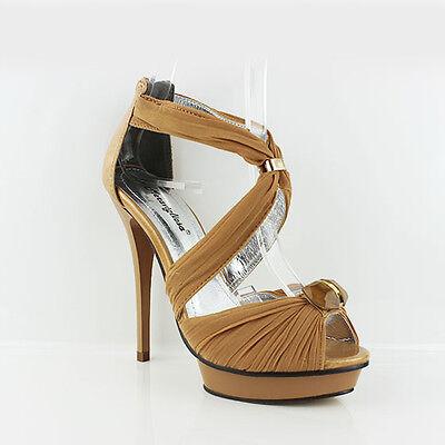 Mujer De Las Señoras Noche Plataforma Zapatos Stiletto Tacón Alto Sandalias De Tiras Talla 3-7