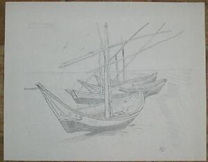 VINTAGE ILE SAINTE MARIE FRANCE NAUTICAL ISLAND BOAT ORIGINAL ART PENCIL DRAWING