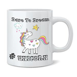 Dare To Dream Unicorn 11oz Ceramic Mug Cup - Funny Novelty Gift Tea Coffee