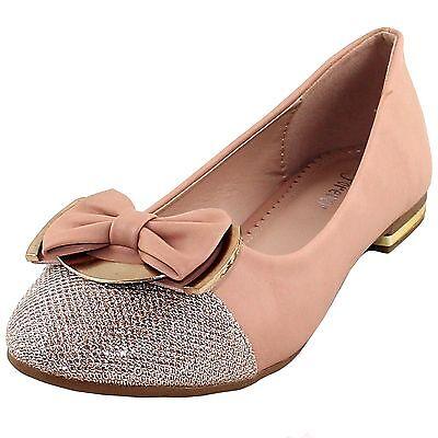 New women's shoes rhinestones ballet flats blink bow wedding prom nude beige