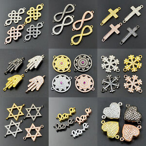 Zircon-Gemstone-Micro-Pave-Connector-Charm-CZ-Beads-Bracelet-Silver-Gold-Jewelry