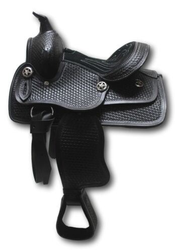 "D.A Brand 10/"" cuir noir enfant Western Selle poney avec daim Siège"