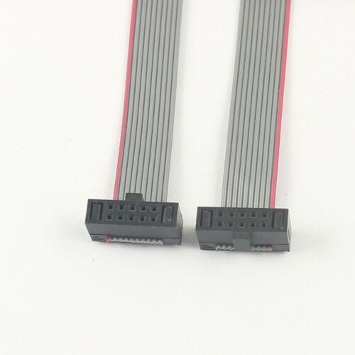 Paso de 2Pcs 1.27mm 2x5 Pin 10 Pin Conector Plano de 10 Hilos desplazamiento del aislante Cinta Cable Longitud 20CM