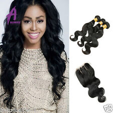 Brazilian Virgin hair with closure human hair bundles with closure Weave Weft
