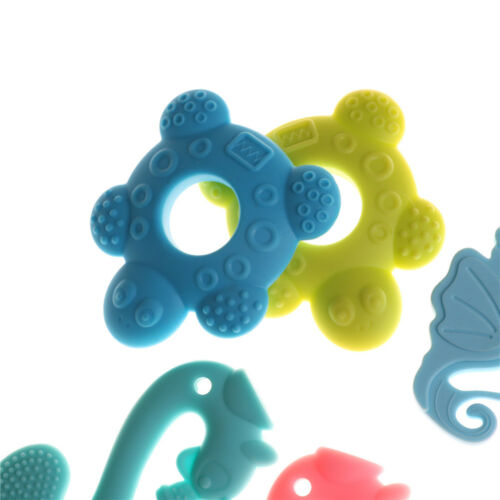 Baby Teether Teething Collares Pacifier Clips Chew Toy Silicone BPA FREE edP0UK