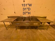 Stainless Steel Cafeteria Prep Station With 3 Basin Sink Unit