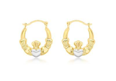 Fashion 9ct White Gold Solid Womens Square Tube Creole Hoop Earrings 14mm