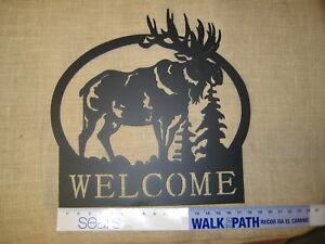 Image Is Loading Elk Moose Welcome Silhouette Black Metal Wall Art