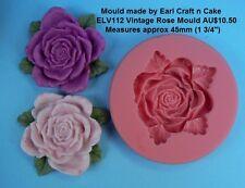 Vintage Rose Silicone Mould  Cake Decorating Gum Paste Sugar Cupcake Topper