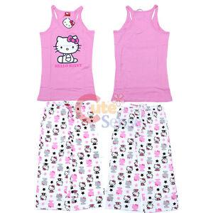40d2ba937 Hello kitty PJ Sleepwear Set Top and Pink White Capri Pants Teen ...