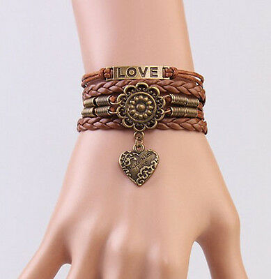 Infinity LOVE Heart Flower Friendship Antique Copper Leather Charm Bracelet !!!