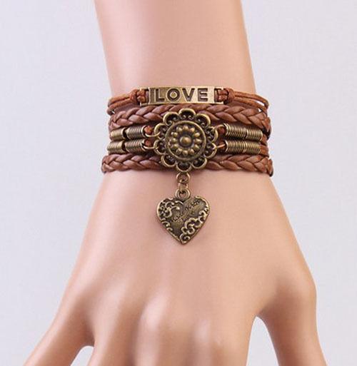 Infinity LOVE Heart Flower Friendship Antique Copper Leather Charm Bracelet !!!