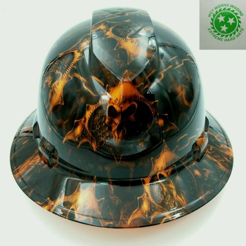 Hard Hat custom hydro dipped FULL BRIM HELL RAISER SKULLS HI VIS ORANGE
