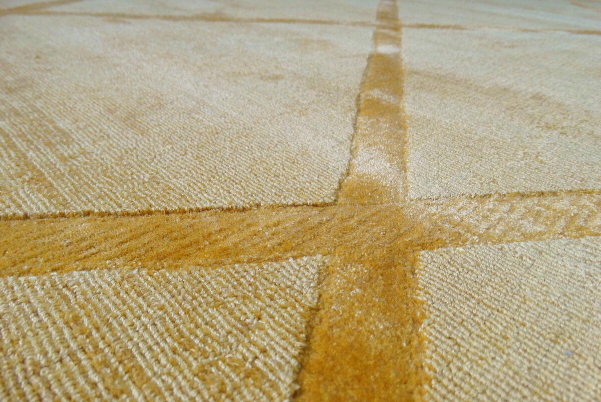 Berber Teppich 100% Viskose Handgewebt Retro Look Kurzflorteppich Gelb 120X170cm 120X170cm 120X170cm ccdb9b