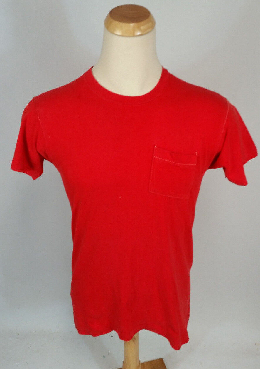 Vintage 70s 80s Plain Blank Square Pocket Distressed Red T Shirt M Worn Faded