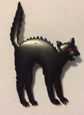 JJ VINTAGE HALLOWEEN SCAREDY BLACK CAT WITH RED RHINESTONE EYES BROOCH