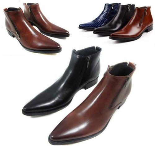 British Mens Pointed Toe Zip Decor Leather Formal Dress Shoes Ankle Boots 2019 Y