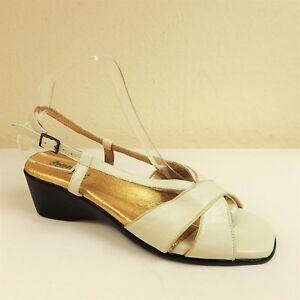 Hotter-Lucy-Size-UK-6-EU-39-Cream-Gold-Leather-Slingback-Sandals-Wedge-Heel-Shoe