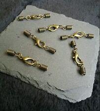 8 Sets Antique Bronze 12mm Lobster Clasps & Coil Crimp Ends for 2.5mm Cords