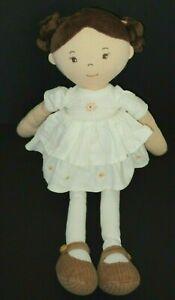 "Home Goods Bonikka Doll Plush Brown Hair Eyes Linen Dress 17"" Stuffed Cloth Toy"