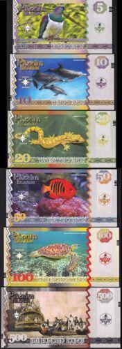 PITCAIRN ISLANDS 10 x 6 PCS SET UNC 5 10 20 50 100 500 P.CONSECUTIVE SAME SERIAL