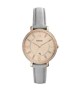 88b934e1afd Fossil Women s ES4304 Jacqueline Rose Gold Dial Gray Leather Strap ...