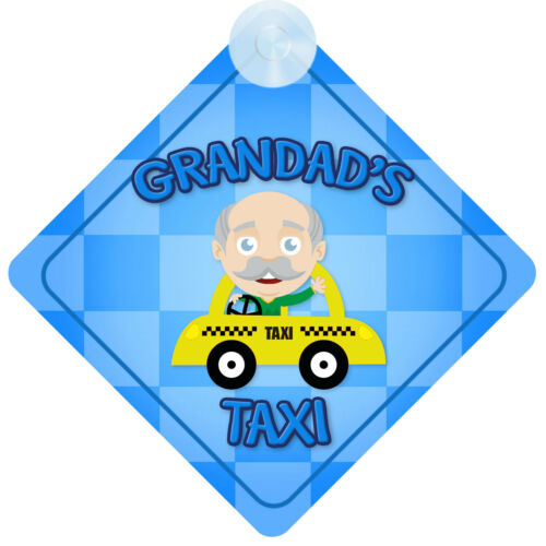 Present Grandads Taxi Blue Car Sign New Baby Child On Board Gift