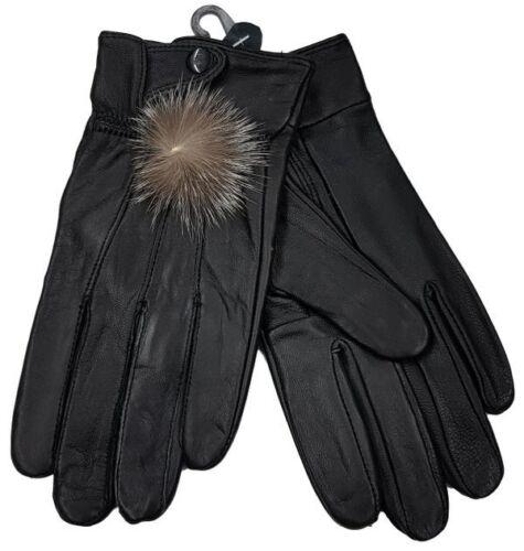 J165 Lederhandschuhe Damen gefütterte Handschuhe schwarz