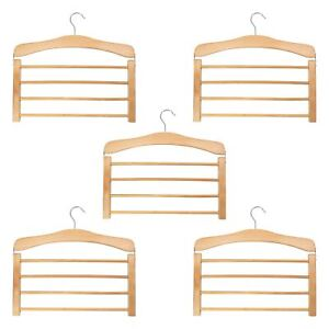 5-Wooden-Trouser-Hangers-Multi-Hanger-4-Trousers-Space-Saving-Clothes-Wood