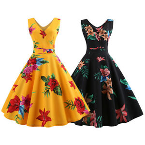 Women-V-Neck-50s-Vintage-Floral-Rockabilly-Prom-Swing-Casual-Evening-Party-Dress