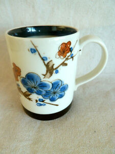 Otagiri-Asian-Design-Blossoms-Coffee-Mug-Blue-amp-Brown-3-3-4-034