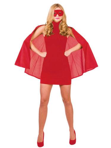 Adulti Supereroe CORTO ROSSO CAPE /& Eye Mask Costume Uomo Donna Ragazza Libro Settimana